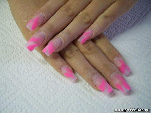 Ногти нежно розовые нарощенные фото