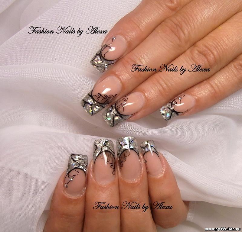 Дизайн ногтей с серебром