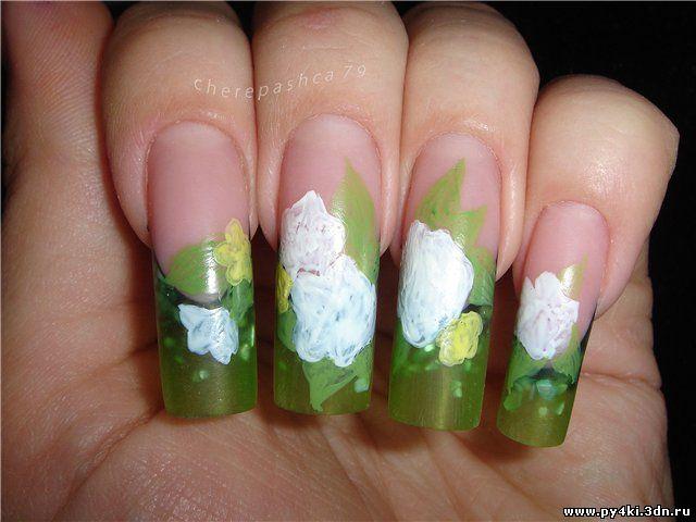 дизайн ногтей цветы видео: