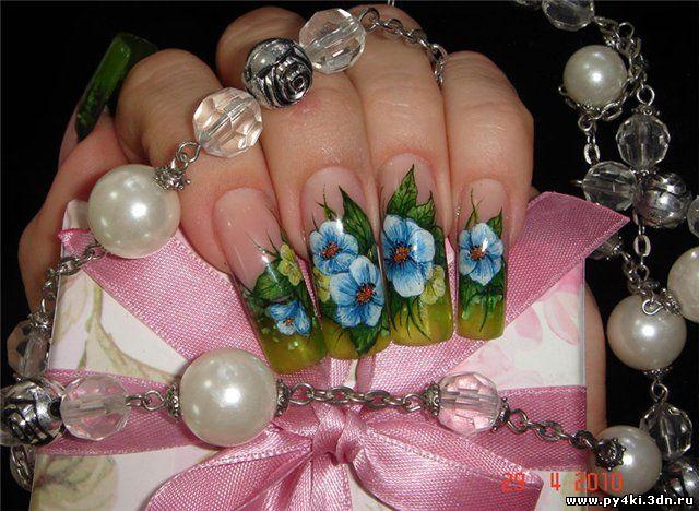 цветы дизайн ногтей лето