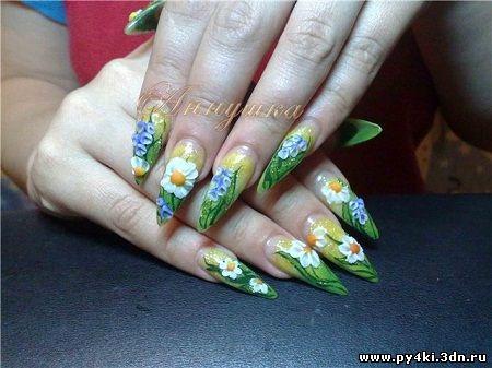 дизайн ногтей цветы лепка