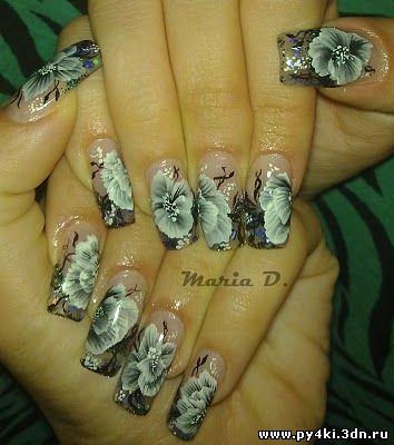 дизайн ногтей Хрустальные цветы
