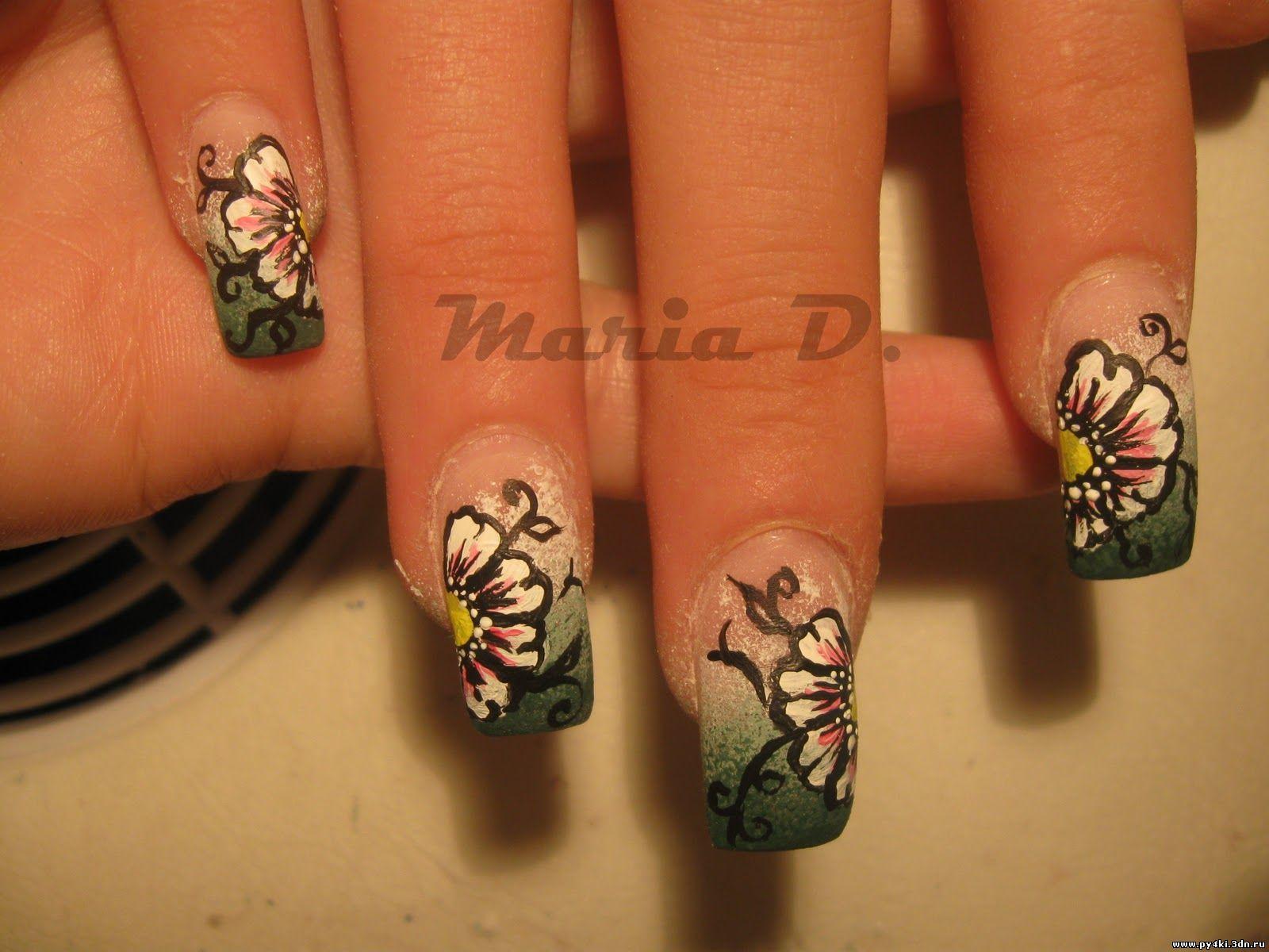 Ногти дизайн цветочки фото